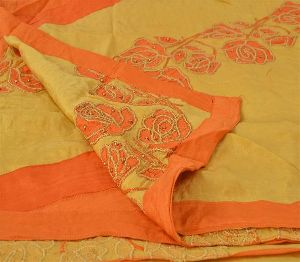Beautiful Brown Colored Hand Embroidered Pure Silk Saree
