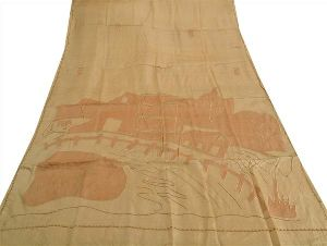 Sanskriti Vintage Indian Saree 100% Pure Silk Embroidered Craft Fabric Sari