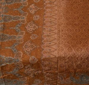 Beautiful Brown Colored Hand Embroidered Printed Pure Silk Saree
