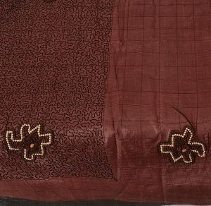 Brown Colored Hand Embroidered Pure Silk Saree