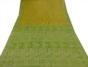 Vintage Indian 100% Pure Silk Saree Hand Beaded Woven Green Craft Fabric Sari