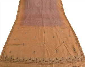 Purple & Brown Colored Hand Embroidered Pure Silk Saree