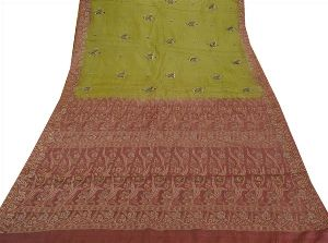 Beautiful Green & Pink Colored Hand Embroidered Pure Silk Saree
