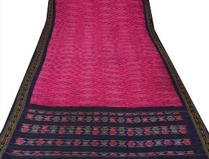 Vintage Indian Hand Woven Patola Fabric Pure Silk Saree
