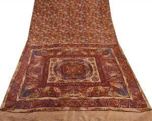 Vintage Indian Saree Printed Fabric Pure Silk Sari Soft Craft 5 Yard Brown Cream