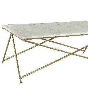 Industrial Coffee Table Marble Top