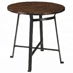Tremendous Contemporary Style Round Top Pub Table With Iron Leg