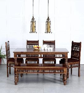 Wooden Antique Dining Table Set