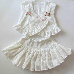 Knitted Girls Skirt & Top Set