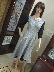 Ladies Georgette Black Long Kurta