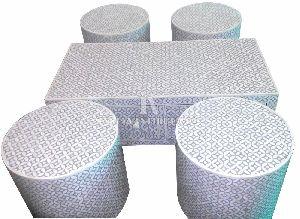 HANDMADE BONE INLYA COFFEE TABLE WITH STOOL