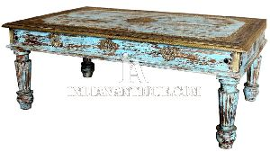 Indian Antique Wooden Distressed Finish Coffee Table