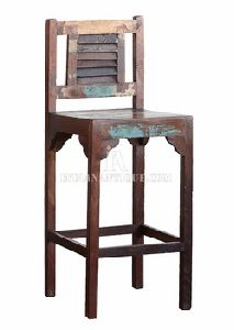 INDIAN RECYCLED WOOD BAR CHAIR