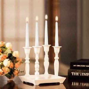Square Plate W/ 4 Candle Holder