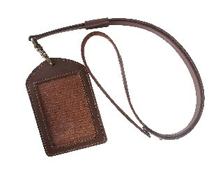 Id Card Holder With Leather Lanyard