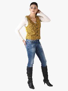 Yellow Animal Print Wool Jacket
