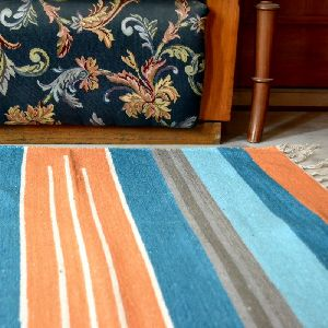 Handwoven Flat Multicolored Striped Blue Cotton Area Rug