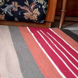 Handwoven Flat Multicolored Striped Red Cotton Area Rug