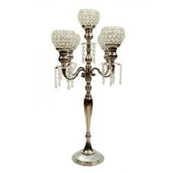 Candelabra Silver With Crystal Votives And Dangles
