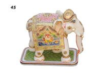 Real 24k Gold Vintage Wooden Hand Carved Soap Stone Elephant