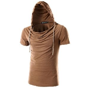 Brown Cotton/Linen Hooded T Shirts