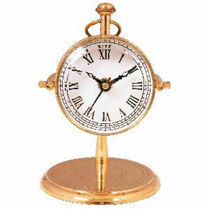 "Golden Table Meritime Clock Vintage Antique Desk Clock Brass Watch 6"""