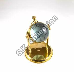 Brass Table Clock With Compass