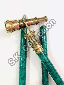 Handmade Vintage Wooden Leather Walking Stick with Brass Spy Hidden Engraved