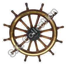Wood And Brass Ship Wheel