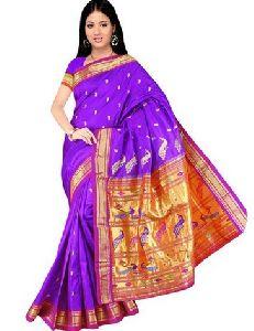 Purple Silk Paithani Sarees