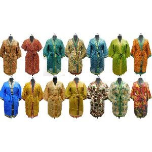 Silk Saree Vintage Kimono Ethnic Soft Women's Bath Robes