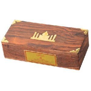 Brass Encoded Wooden Tea Box