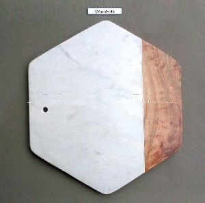 Hexagon Shape White Stone With Wood Made Cheese Plate