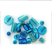 Silver Foil Turquoise Color Furnace Big Hole Mix Glass Beads