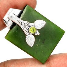 925 Sterling Silver Green Jade Handmade Pendant Jewelry