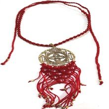 Indian Tribal Antique Stone Cord Work Necklace Jewelry