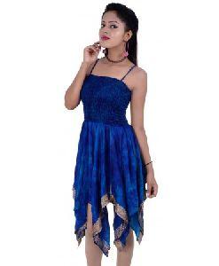 Art Silk Tie Dye Dress For Ladies