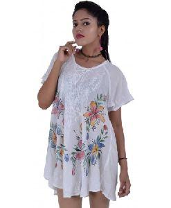 White Umbrella Short Sleeve Tops For Women