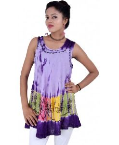 Women Tie Dye Sleeveless Rayon Tops