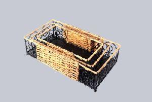 Wicker Ratten Cane Rectangular Basket