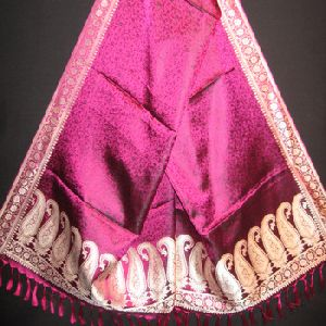 Varanasi Handmade Hand loom 100% Red Silk Scarf