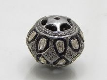 925 Sterling Silver Pave Diamond Ball Spacer Bead Finding Jewellery