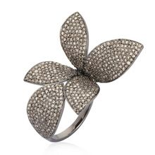 925 Sterling Silver Leaf Ring Cocktail Design Pave Diamond Jewelry