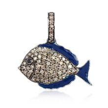 Blue Enamel Pave Diamond Fish Pendant 925 Silver Spinal Gemstone Jewelry