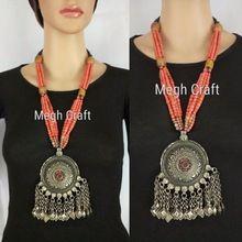 Designer German Silver Necklace - Designer Pendant Set