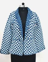 Coton Quilted Designer Women Short Quilted Indigo Jacket