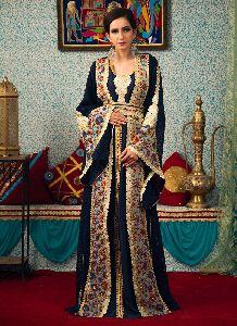Dark Blue Color Embroidered Work Kaftan