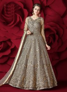 Salwar Kameez Women Grey Color Long Length Anarkali