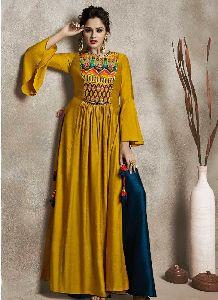 Women Long Kurti Yellow Color Silk