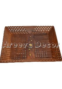Brass Carved Wooden Tray